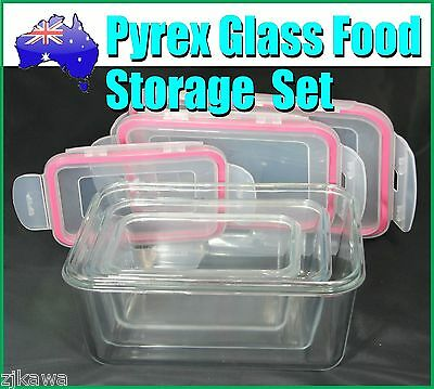 Pyrex Glass Food Storage Containers Airtight Leakproof Lid Set of 3
