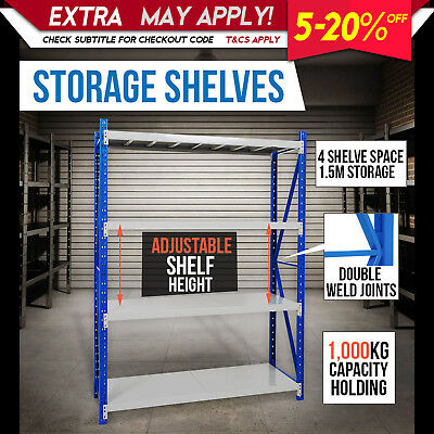 NEW 1.5 X 2M WAREHOUSE GARAGE STEEL STORAGE SHELVING Metal Racking Shelves Shelf