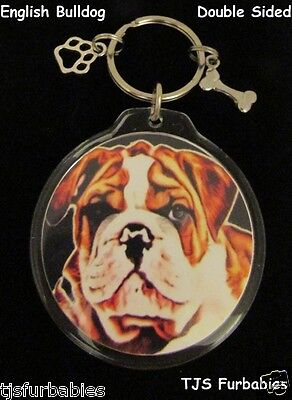 English Bulldog Keychain Key chain Double Sided Great Pet Lovers Gift