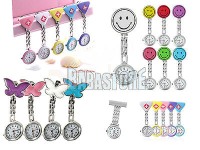 New Cute Pendant Butterfly Nurse Clip-on Brooch Quartz Hanging Pocket Watch BE
