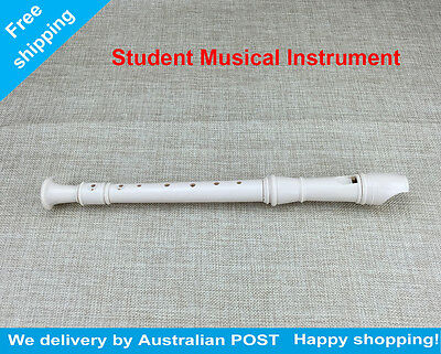 8 Holes Off White Plastic Flute Clarinet Recorder Musical Instrument For Student