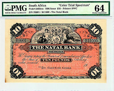South Africa 1906 10 Pounds Color Trial Specimen Choice Unc Pmg 64 Marvelous !
