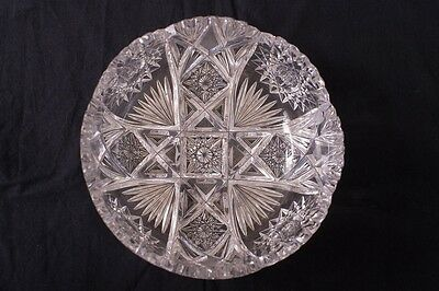 Antique ABP American Brilliant Period Cut Crystal Fruit Centerpiece Bowl 9""