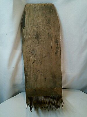 Vtg Antique Primitive Farm Flax Hatchel Hackle Folk Art Oak Shelf Americana NICE