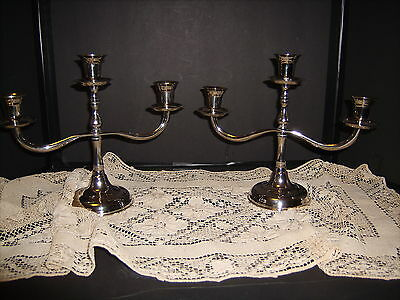 Beautiful Pair Of Silverplate 3 candle Candelabras Leonard Mid Century Modern