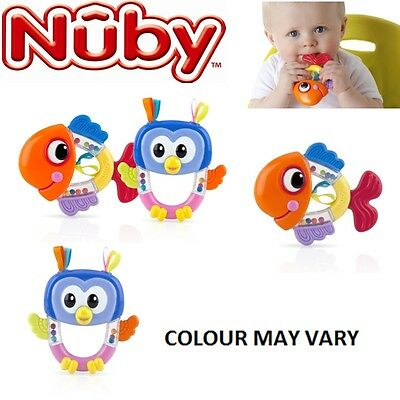 Nuby Baby Fun Teether BPA Free  Infant Rattle Toy Fish or Owl 3 Months+