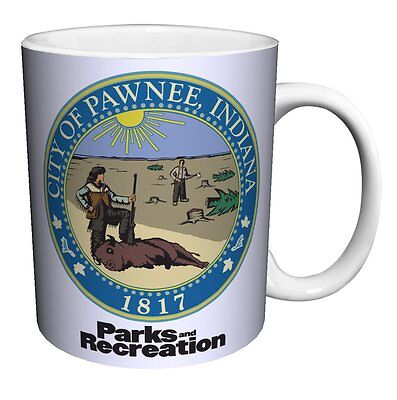 """PARKS AND RECREATION """"PAWNEE SEAL"""" 12 oz COFFEE MUG  NEW in BOX"""