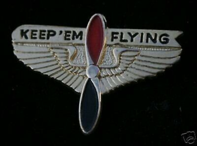 Authentic Keep Em Flying Hat Lapel Pin Propellor Wing Ww2 Us Marines Veteran Wow