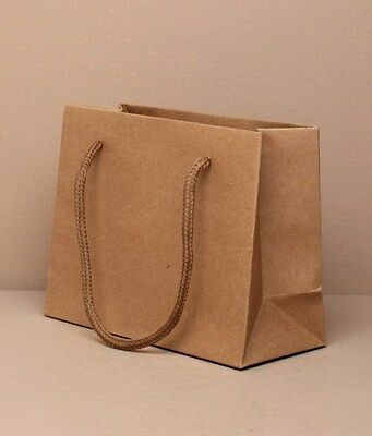 Wholesale Gift Bags Cord Handle in Packs of 12 - Natural Brown Paper Gift Bag