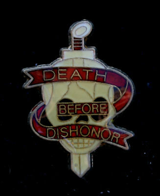 Death Before Dishonor Skull Lapel Hat Pin Up Us Army Navy Air Force Special Ops