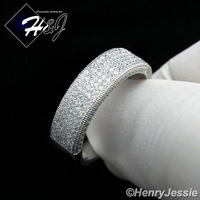 Men Women 925 Sterling Silver Lab Diamond Iced Out Bling Wedding Band Ring*sr43