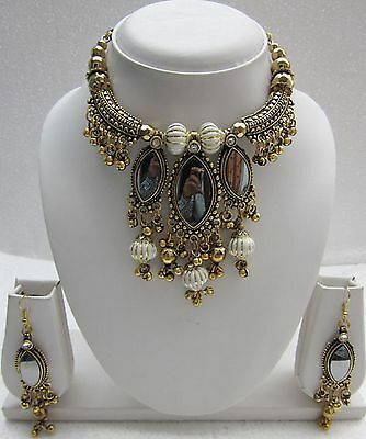 Show Stopper NECKLACE EARRING SET Antique Gold Pl Gypsy Hippie Bellydance f1419