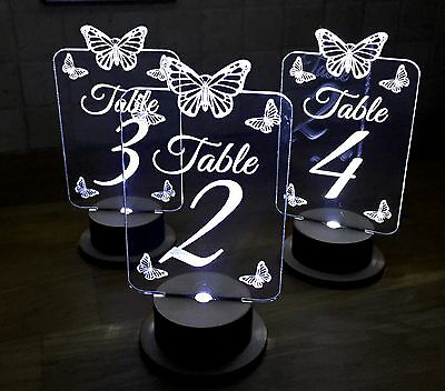 Table numbers, acrylic, light up, Butterfly design