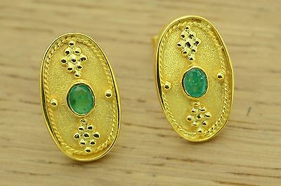 Byzantine Green Emerald Earrings Etruscan Style 925 Sterling Silver GREEK ART