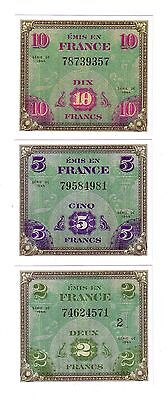 """SET DE 3 BILLETS 1944 """"Allied Military Currency"""" (REPRODUCTION)"""