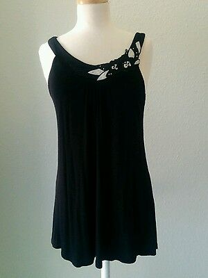 Black tunic with floral collar (lace & leather & studs) Cute! Forever 21 M