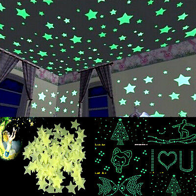 Glow In The Dark Moon and Stars Wall Sticker Baby Bedroom Home Decor Luminescent