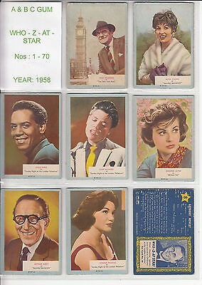 1958 A&BC Who-Z-At-Star - Complete Set 1-70