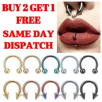 horseshoe ring nose ring piercing bar surgical steel lip nose septum ear ring