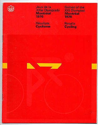 Official Results   Olympic Games MONTREAL 1976  -  CYCLING  !!  VERY RARE