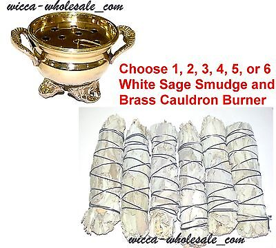 1 Brass Cauldron And White Sage Smudge You Pick How Many Smudges 1, 2, 3, 4, 5 6