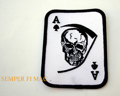 Ace Of Spades Skull Hat Patch Us Army Marines Navy Air Force Uscg Pin Up Reaper