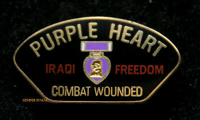 Purple Heart Combat Wounded Iof Iraq Hat Pin Us Army Marines Navy Air Force Uscg