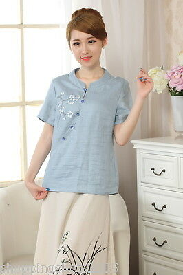 chinese clothing blouse Hand drawing plum blossom Three Quarter Sleeve 140925