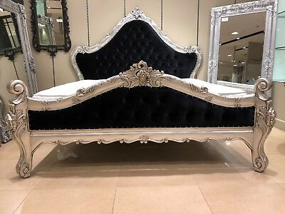 Statement Silver Large Black Velvet French Ornate Rococo Boudior Double Bed