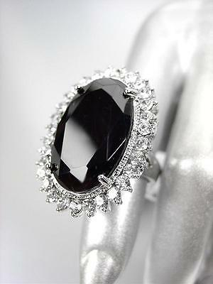 STUNNING Chunky Large Black Onyx CZ Crystal Round CZ Crystals Oval Cocktail Ring