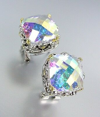 Designer Style Silver Gold Balinese Filigree Iridescent AB CZ Crystal Earrings