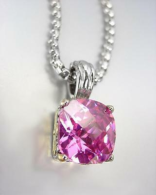 Designer Style Silver Gold BALINESE Pink Rose CZ Crystal Pendant Chain Necklace