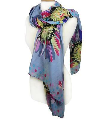 EXPRESSIVE Silky Lightweight Multi Floral Polka Dots Blue Gray Fashion Scarf