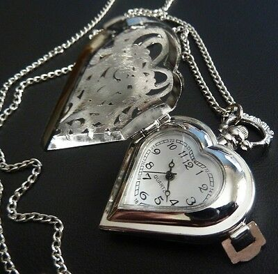 Vintage Style Antique Silver Heart Locket Pocket Fob Watch Necklace