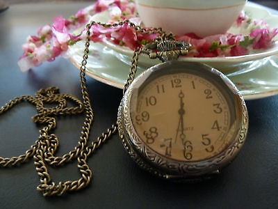 Vintage Style Antique Gold Fob Pocket Watch Necklace