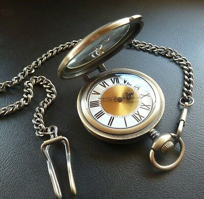 Mens Vintage Style Antique Gold Fob Pocket Watch and Magnifier