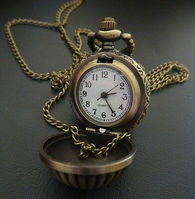 Vintage Style Antique Gold Steampunk Ball Dome Pocket Watch Necklace