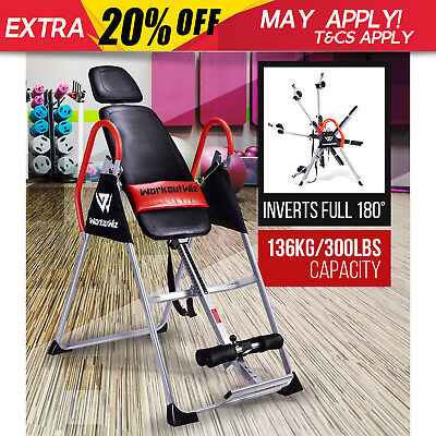 NEW WORKOUT WIZ GRAVITY INVERSION TABLE Folding Upside Down Back Pain Home Gym