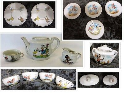Vintage 1950's WALT DISNEY MARX Tea Set; 15 Pieces w/Teapot, Creamer Sugar Bowl