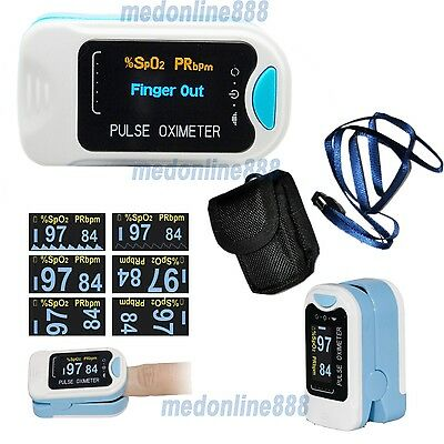 OLED Blood Oxygen Finger Pulse Oximeter Oxymeter SPO2 Heart Rate Monitor + Pouch