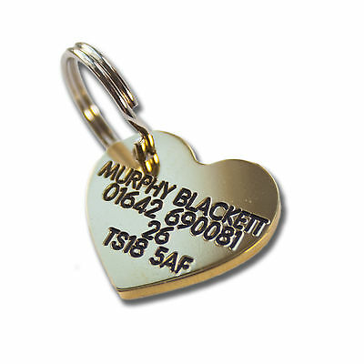 Deeply engraved solid brass dog tag, heart shaped 22mm