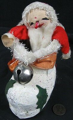 Nice Vintage 1940's-50's Christmas Boot Cotton Batting Santa Candy Container