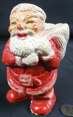 Vintage 1920's-30s Christmas Cute Santa Chalk Candy Container
