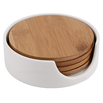 Set of 4 Round Wooden Bamboo Drinks Coasters with Holder Coffee Table Desk Home
