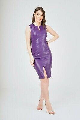 NEW WOMEN SlEEVEESS RED FAUX LEATHER BODYCON MIDI COCKTAIL PARTY DRESS SIZE8-14