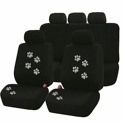 Set of Universal Front & Rear Seat Covers with Grey Paw Design Pet Dog 9 Piece