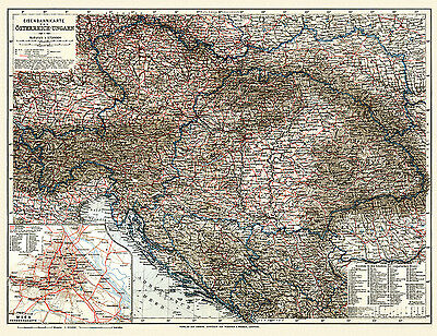 Austria-Hungary General Map (Railway) 1913, Vintage Print Poster, Wagner&Debes