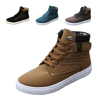 Fashion Men High Top Trainers Boots Sneakers Casual Lace up Canvas Shoes Flat