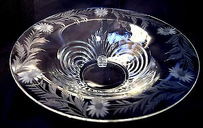 Vtg  Cambridge Caprice Elegant Footed Etched Console Bowl