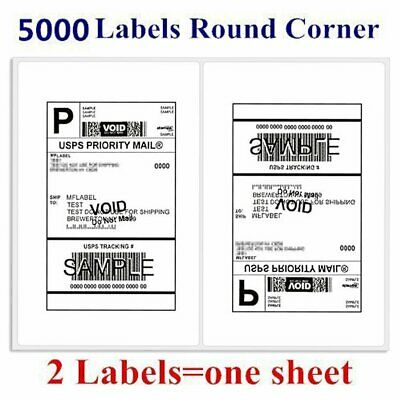 5000 Round Corner Shipping Labels 2/Sheet 8.5 x 5.5 Self Adhesive - USPS PayPal